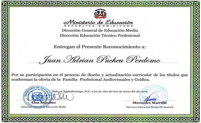 Reconocimiento ministerio de educaci n rep blica dominicana for Ministerio de ensenanza